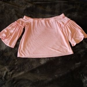 Pink off the shoulder blouse w bell sleeve sz M